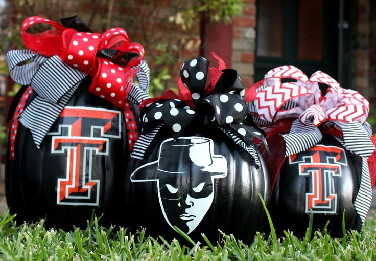 Texas Tech Custom Craft Pumpkin Décor - Any College Available - Ribbon/Colors Customized by SouthernBelleDazzle on Etsy