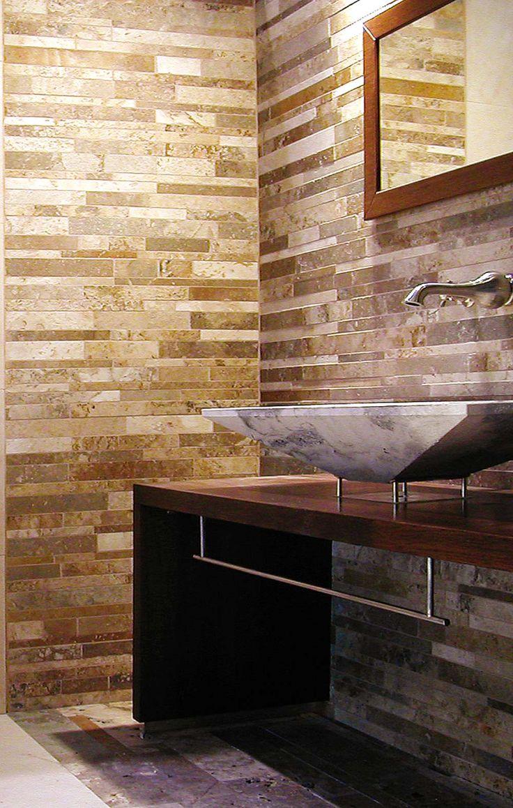 Strips in Tuscan Travertine by Pietre di Rapolano    #Mosaici #Mosaics #pietrerapolano