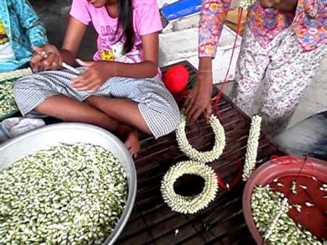 How to string Jasmine Flower Garland-How to String Flower By Nagu's Handwork - YouTube