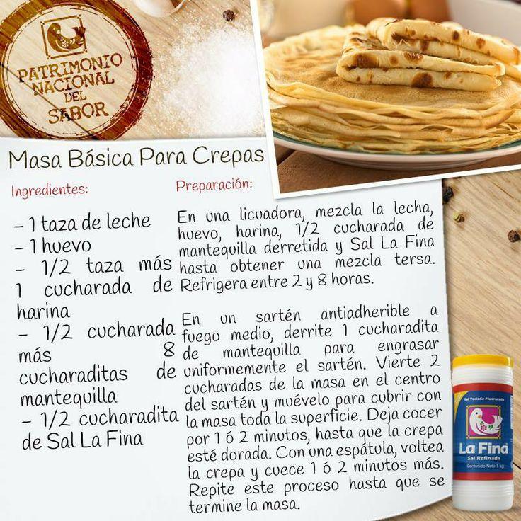 Receta para crepas cosas que quiero probar pinterest - Ingredientes para crepes ...