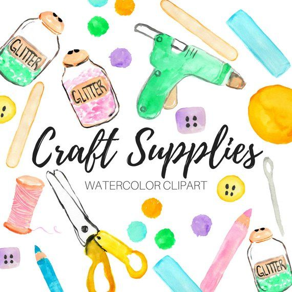 This Is A Set Of 14 Different Crafting Artist Clip Art Pieces These Watercolor Art Crafting Supplies Are Made By Hand Using W Clip Art Crafts Arts And Crafts