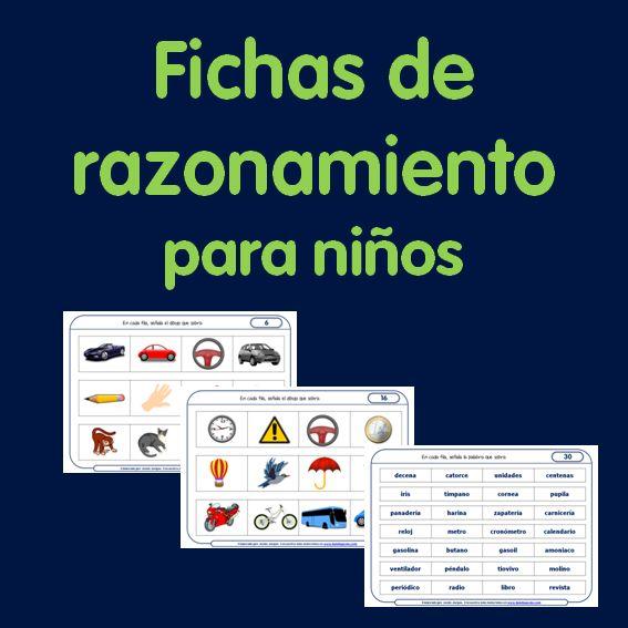 Paquete de 36 fichas de razonamiento para niños que puedes descargar e imprimir. Las podrás utilizar desde Infantil hasta hasta Primaria.