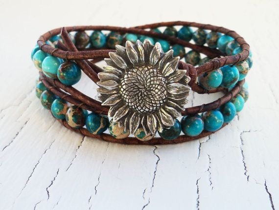 Turquoise Leather Wrap Bracelet, Magnesite Gemstone Bracelet, Boho Bohemian, Blue Double Wrap Bracelet, Sunflower Jewelry, Cowgirl Bracelet. $42.00, via Etsy.
