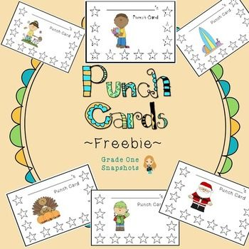 """Use these seasonal punch cards to """"punch up"""" your behavior management at any time of the year!  Simply print out a copy for each student and use your hole puncher to note each time a student does the specified behavior or task.    Ideas for behaviors/routines to reward: -returning books -bringing back homework -completing stages of an assignment or project -having a clean desk or cubby -helping a friend -listening -focusing during class  Once the student has all of the stars punched, they…"""