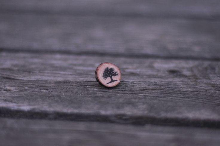 In Between The Trees // Wood earrings with tree print