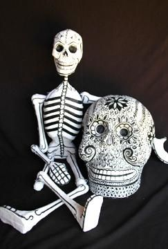 Papier Mache Skeleton Folk Art - skeletons, skulls, masks, festival figures & more