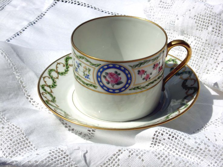 Haviland Louveciennes  porcelain tea cup and two saucers from Limoges, France by FrenchConnexion on Etsy https://www.etsy.com/uk/listing/455748268/haviland-louveciennes-porcelain-tea-cup