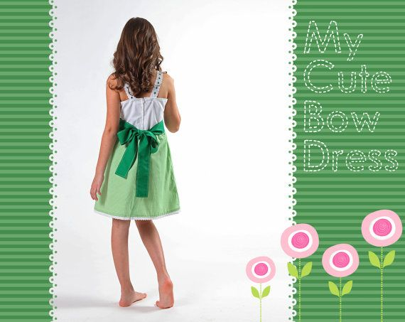 Cute green girl's dress with bow by LaLoOLa on Etsy