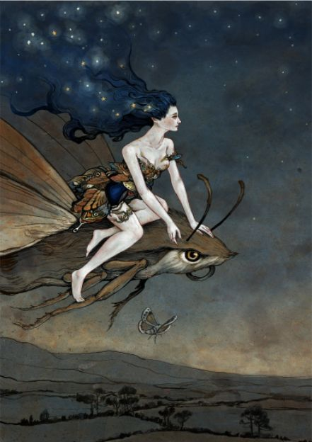 ≍ Nature's Fairy Nymphs ≍ magical elves, sprites, pixies and winged woodland faeries - Moth Rider