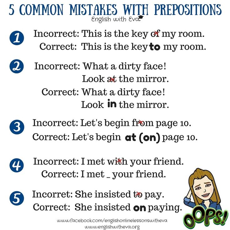 Learning English, English grammar, Common mistakes with prepositions