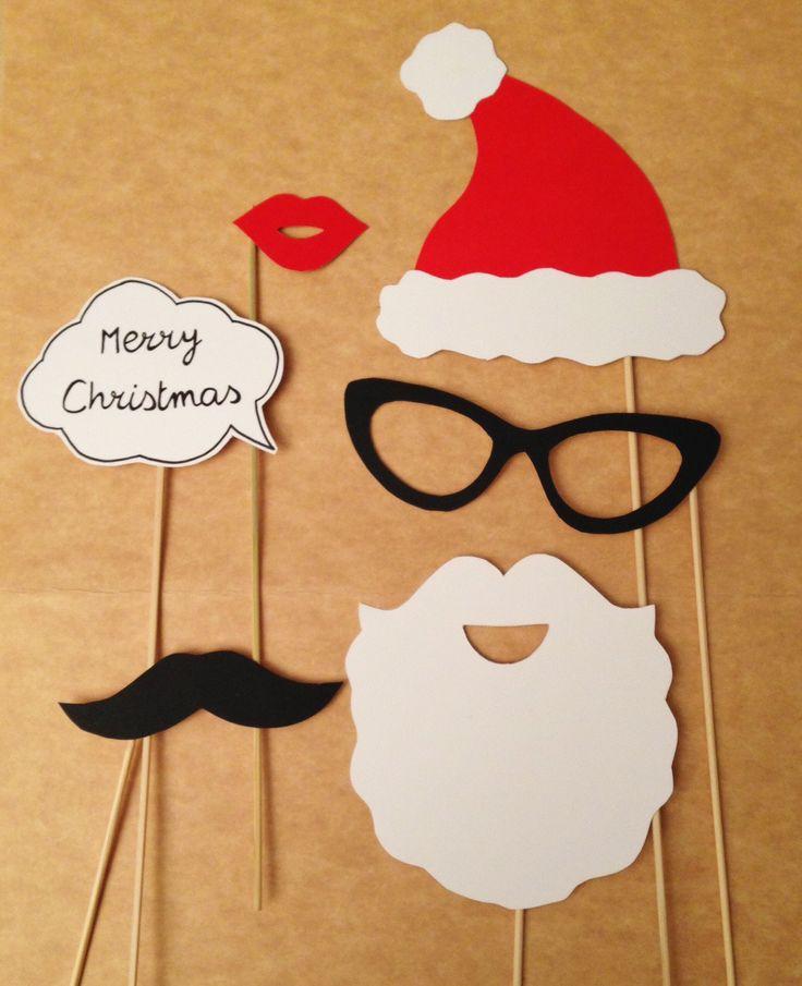 Accessoires photobooth pour noël : barbe, moustache, lunettes… par crea-graphic