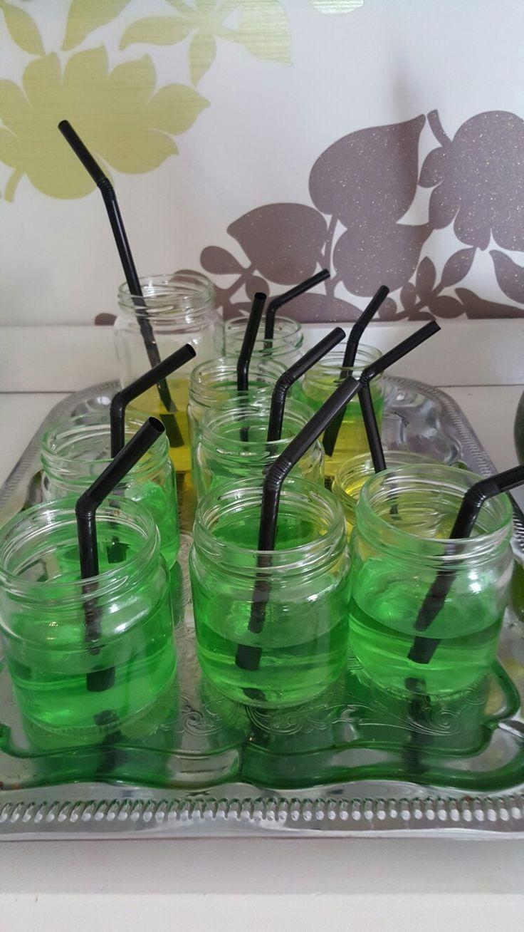Slime-drinks  Green jelly in old jars