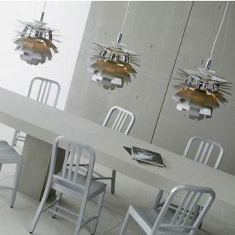 "Triad of Danish Modern ""Artihcoke"" Pendants by Designer Louis Poulsen."