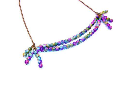 "Collier Multi Rangs ""My Galaxy"" Bronze, Perles Stardust Multicolores"