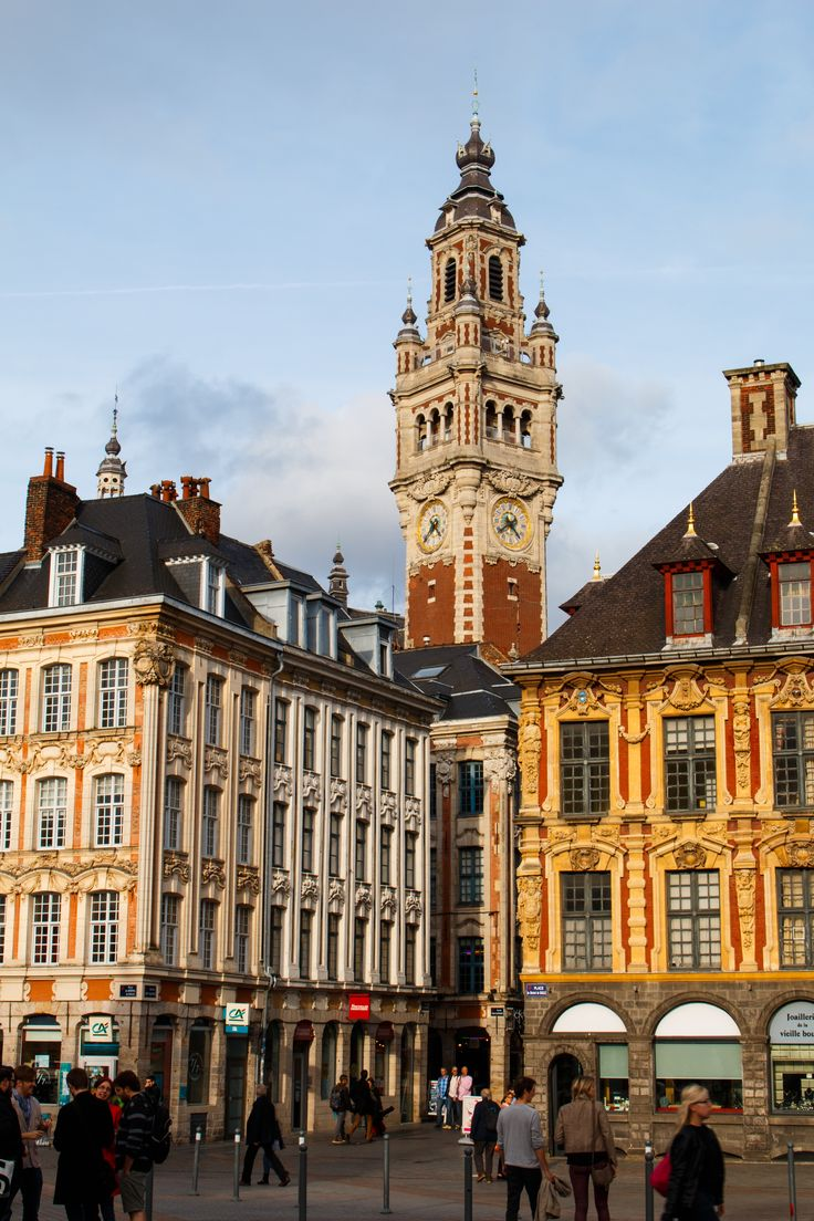 A classic French clock tower in Lille city centre.
