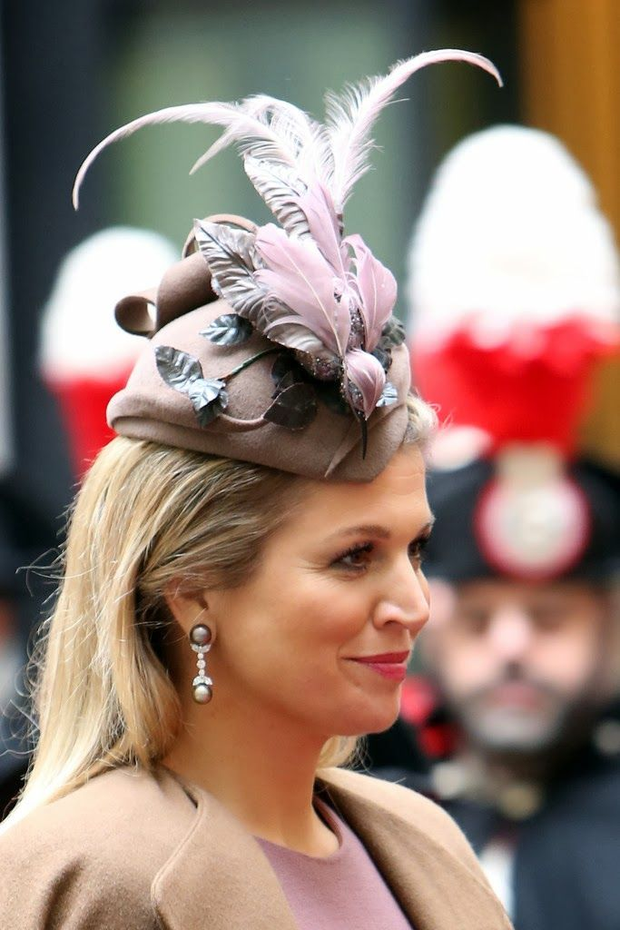 Dutch Queen Maxima's hat details as she arrives at Palazzo Chigi in Rome, Italy for a one day visit on 23.01.14