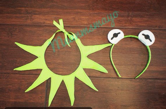 Kermit the Frog Muppet Eyes Green Headband and Point by meanmsmayo