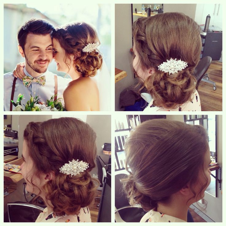 Stunning soft braid with a curly textured side bun on this lovely ladies wedding day ❤️