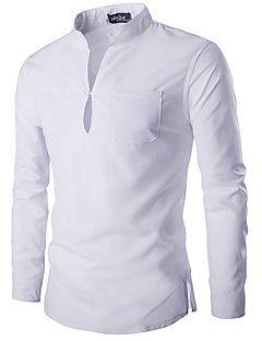 Hombre Simple Casual/Diario Primavera / Otoño Camisa,Escote Chino Un Color Manga Larga Algodón Blanco / Negro Medio