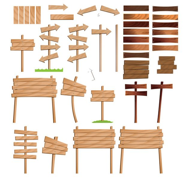 Collection of realistic wooden road signs and various boards. Vector art footage pack offering arrow clip art and billboards, ideal for your business commu