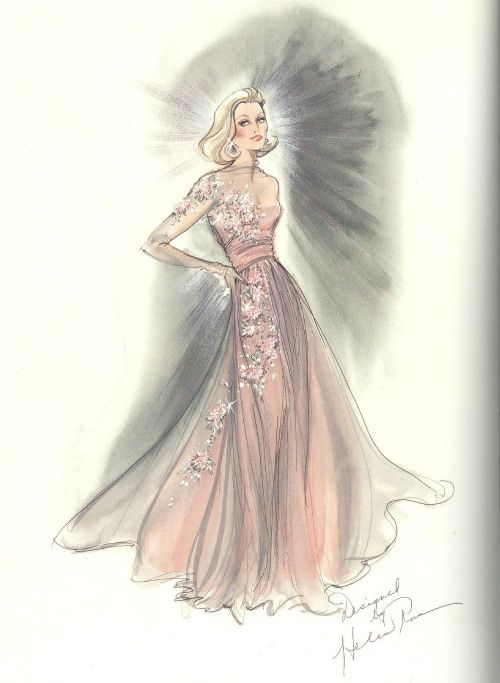 "Costume sketch of GRACE KELLY's chiffon embroidered gown, designed for the film ""High Society"" (1956) by MGM costumer Helen Rose (who also designed Kelly's wedding gown)."