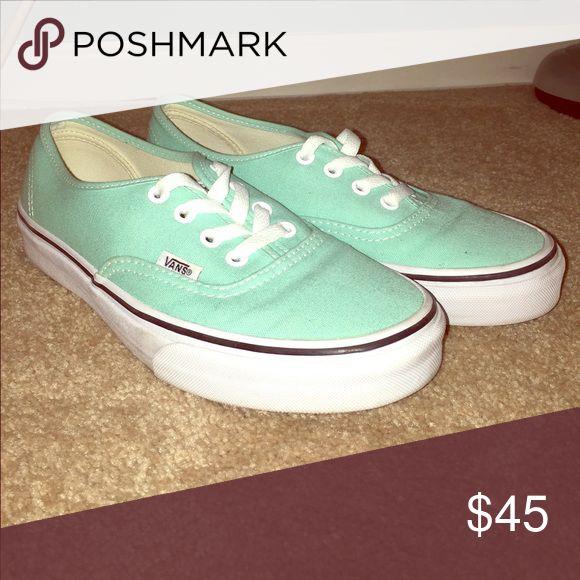 Mint green vans Worn 1 time. Too big on me. Vans Shoes Sneakers