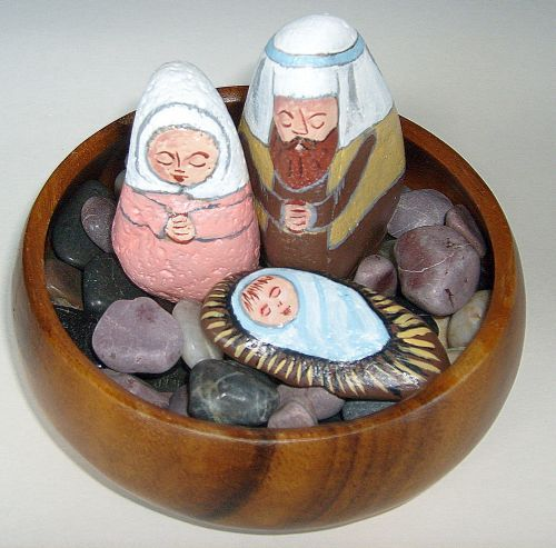 Wooden Bowl + Smooth Stones + Painted Rock Nativity = Year-Round Display Using Natural Elements (nativity sets / nativity scene figures)