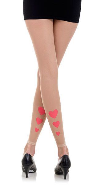 Hearts Print Footless Tights Boday Color & Pink by Zohara #trendylegs