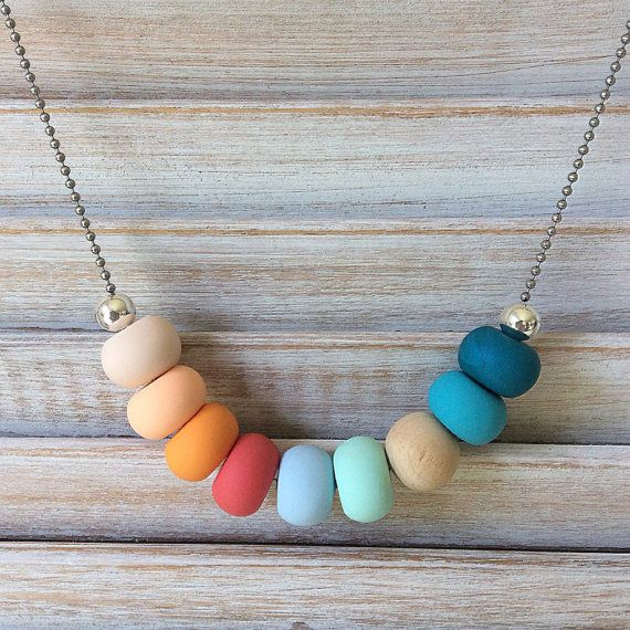 Multi coloured necklace polymer clay necklace by Rubybluejewels