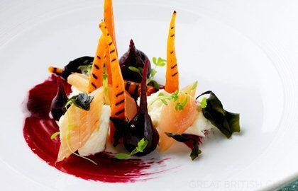 Carrots with smoked trout, mozzarella, wakame seaweed and beetroot emulsion | MasterCook