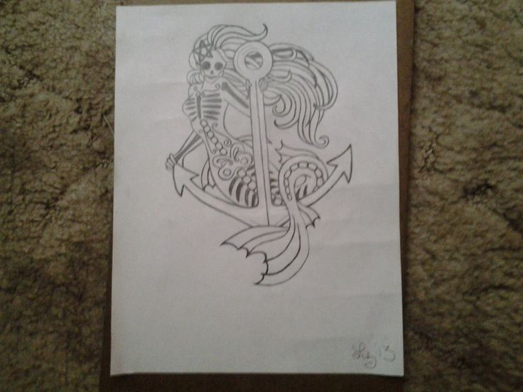 skeleton mermaid anchor drawing by lizzyj2217 on deviantART