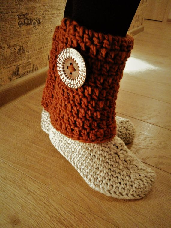 Crochet slipper boots/womens slippers/womens by ChunkyKnitworks