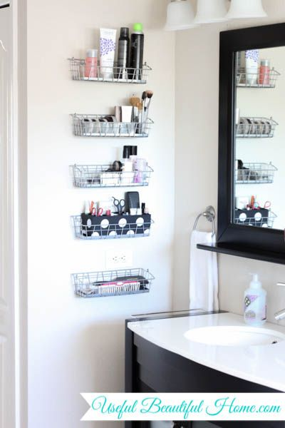 DIY Super Easy And Clever Vertical Vanity Organization For Your Bathroom