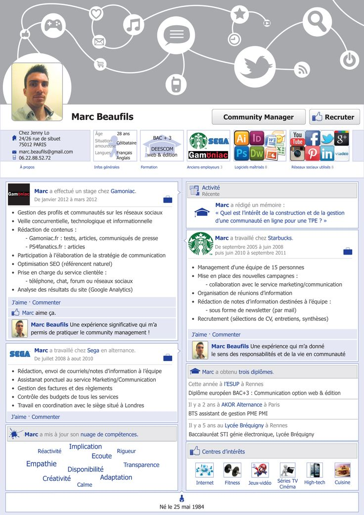 genious  cv d u0026 39 un community manager  cv  resume  facebook  communitymanager