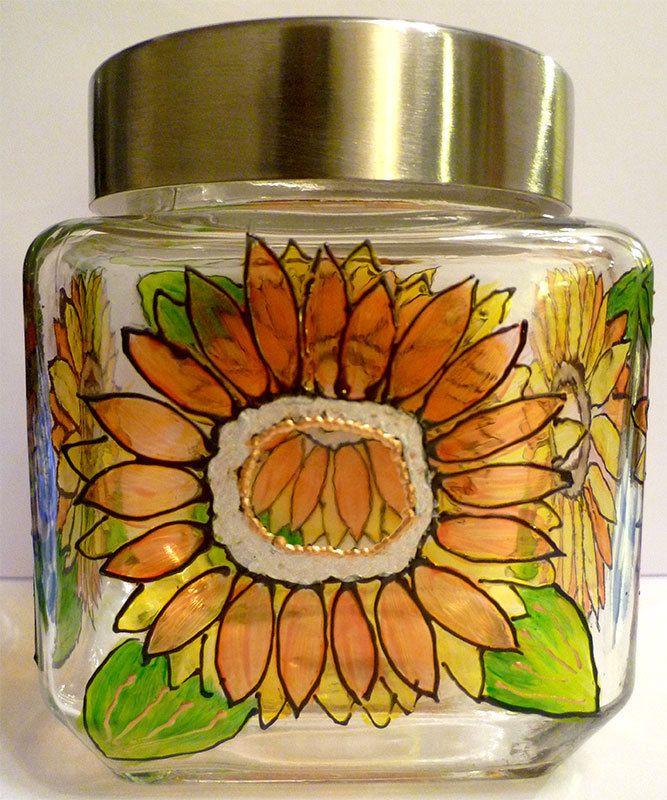 Designer Hand Painted Midi Sunflower Pattern Storage Jar by HandPaintedJar on Etsy
