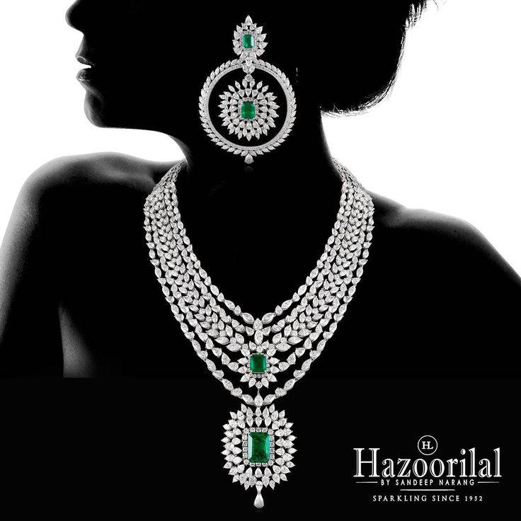 """Emeralds dazzle between the diamonds in this elegant piece of craftsmanship. #Hazoorilal #HazoorilalBySandeepNarang"""