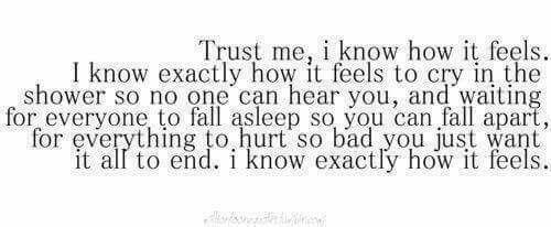 Credimi, so come ci si sente. So esattamente come ci si sente a piangere nella doccia cosicchè nessuno può sentirti, ed aspettare che tutti si addormentino così tu puoi cadere a pezzi, per ogni cosa che ti ha ferito così tanto che vorresti solo farla finita. So esattamente come ci si sente.