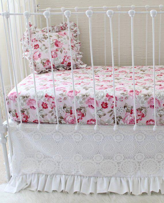 White Lace Crib Skirt Girls Crib Bedding Dust Ruffle Antique White