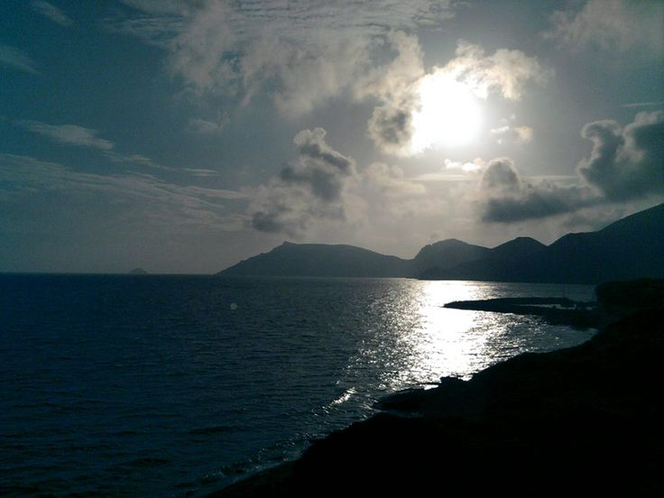 Sunset over Komi and Emborio. Chios, Greece