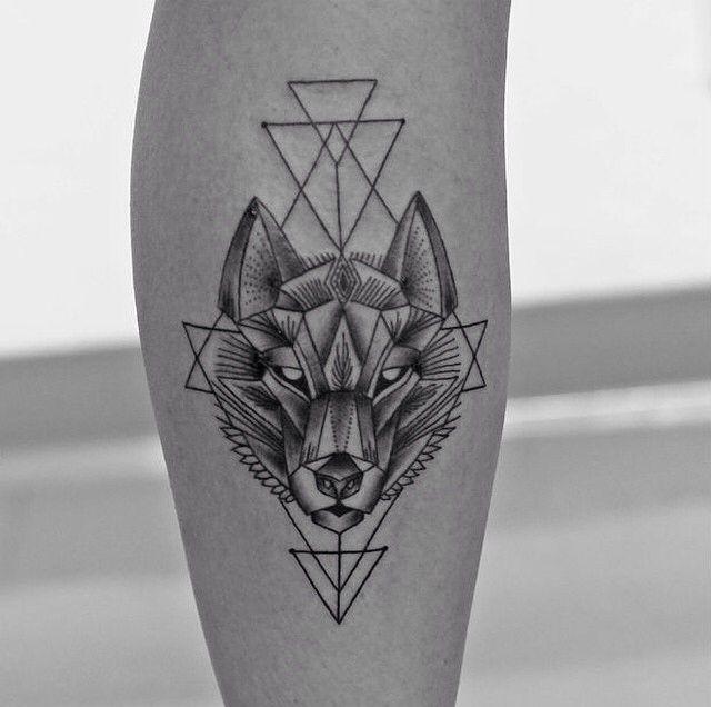 wolf + geometric tattoo