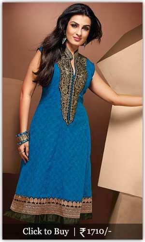 Diwali Shopping Collection Blue-Applique-Enhanced-Long-Kurti