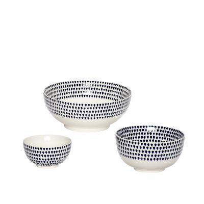 Porzellanschalen weiß mit blauen Tropfen