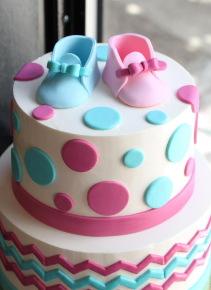Chevron And Dot Gender Reveal Cake Whipped Bakeshop Yo