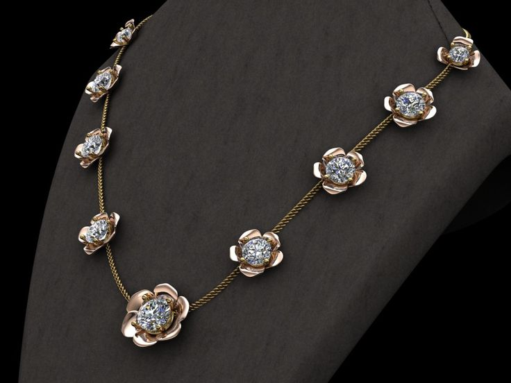 Tri-tone floral necklace with diamonds  http://laminedor.ca/