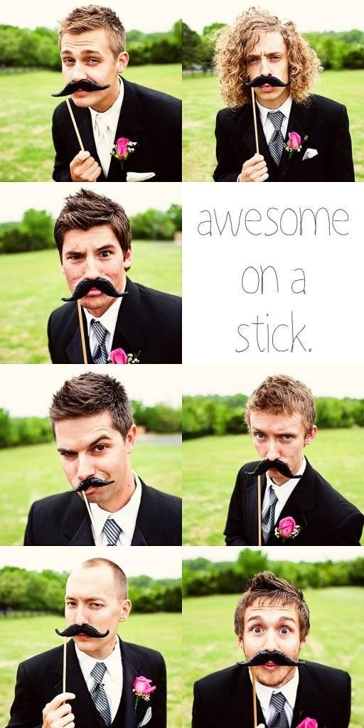 why have I never thought of this before?! Have fun with your wedding pictures and use photobooth props! Mustaches for the groomsmen, kisses for the bridesmaids - and crowns for the bride and groom. What would be even more fun is to add a chalkboard sign so they could each write a note for the happy couple!