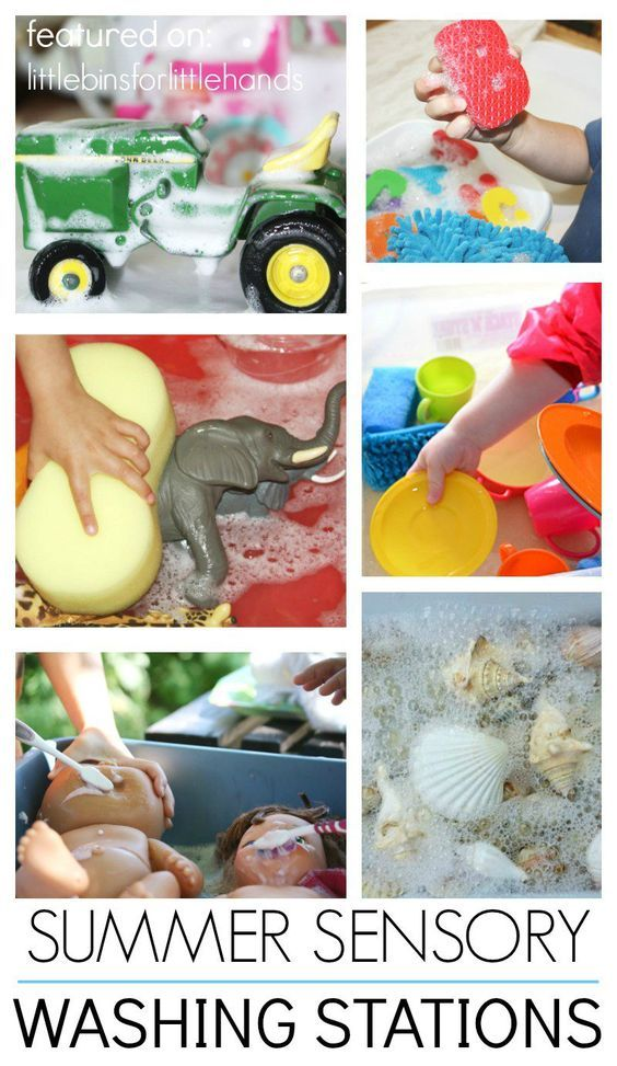 Summer water sensory play activities with washing stations! Fun outdoor summer activities using items you already have. Water play is great for babies, toddlers, preschoolers, and kindergarten age kids! These water sensory play ideas and washing sensory bins will be a big hit on hot summer days! Fun screen free activity for kids.