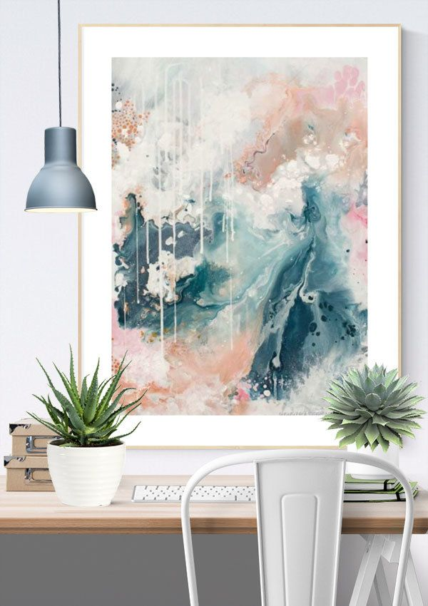 This fine art abstract wall print is in beautiful neutral tones of deep grey-blue, copper, and a touch of blush pink. It's a gorgeous choice for a nordic inspired or scandinavian style living area but will work well in any timeless setting.