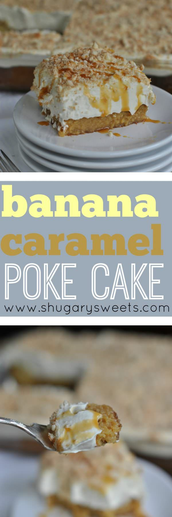 This Banana Caramel Poke Cake has a VERY moist cake layer topped with Banana JELL-O Pudding flavored Cool Whip. Caramel in the cake AND drizzled on top with some Nilla Wafers completes this luscious dessert.