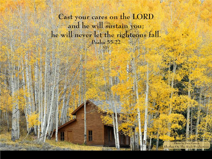 """""""Cast your cares on the LORD and he will sustain you; he will never let the righteous fall."""" ~ Psalm 55:22 (niv)"""