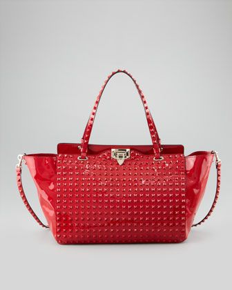 Red Studded Handbag | Luggage And Suitcases